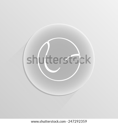 icon ball tennis on a white button with shadow - stock vector