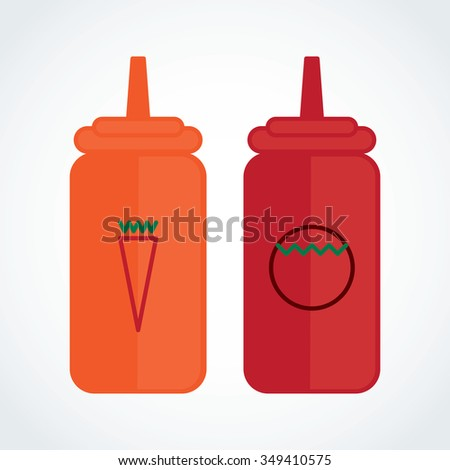 Icon Bottle of chili sauce with tomato sauce - stock vector