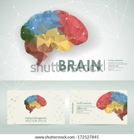 Icon brain science design element template with business card - stock vector