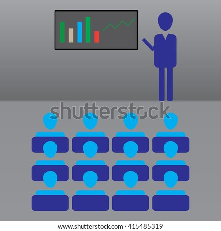 ICON BUSINESS PEOPLE AT THE LECTURE - stock vector