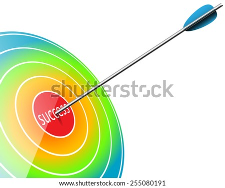 Icon Business Target with inscription Success. Infographic. Illustration, vector. - stock vector