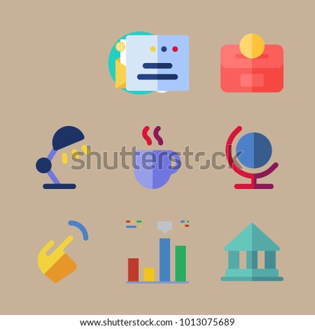 icon Business with email, globus, piggy bank, globe and bar chart
