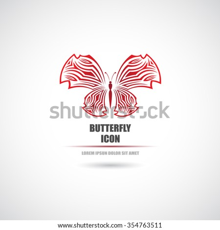 Icon butterfly.Vector illustration - stock vector