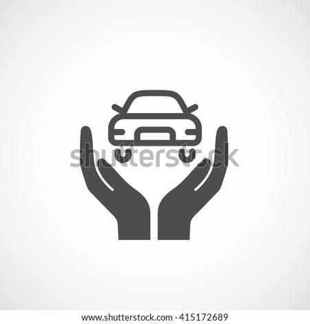 Icon car insurance. Silhouette sign, vector illustration. - stock vector