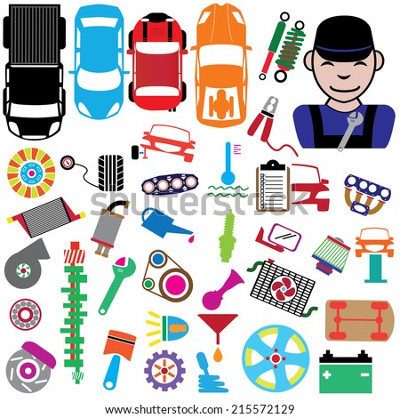 Icon Car Parts for garage in colorful - stock vector