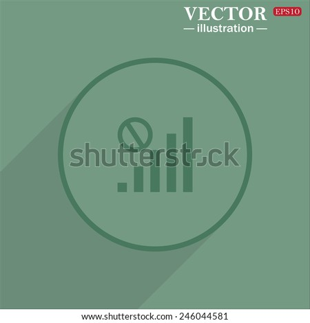 Icon circle on a green background with shadow, no signal, poor signal strength, signal strength indicator, vector illustration, EPS 10 - stock vector