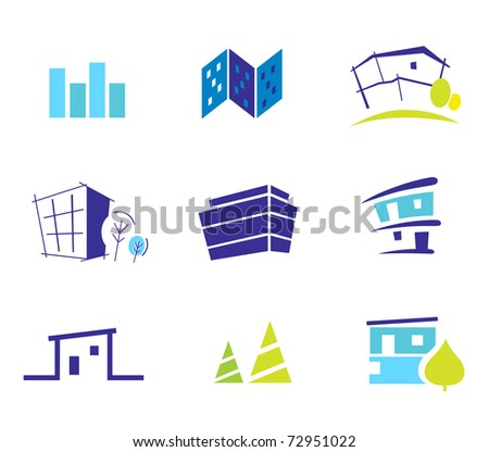 Icon collection for modern houses inspired by nature and simplicity. Vector Illustration. - stock vector