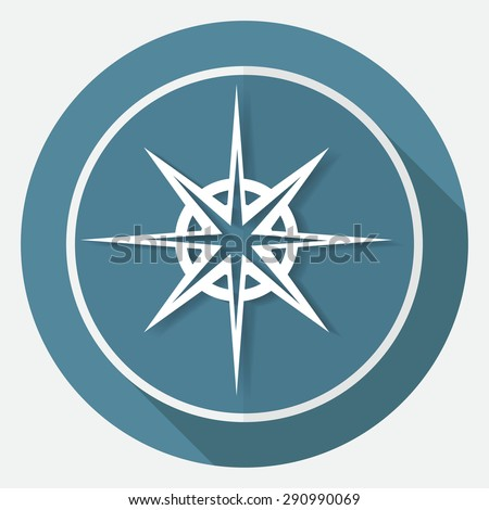 Icon Compass on white circle with a long shadow - stock vector