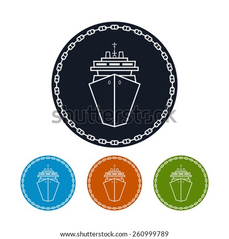 Icon cruise ship ,the four types of colorful round icons passenger ship or carrier in the circle of the chain,  vector illustration - stock vector
