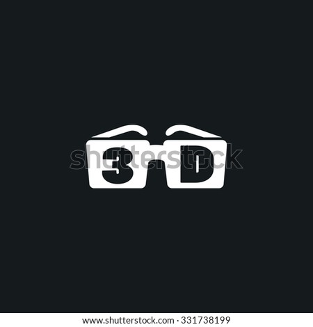 Icon 3D glasses. - stock vector
