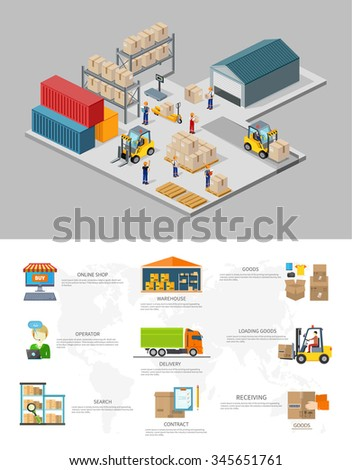 Icon 3d isometric process of the warehouse. Warehouse interior, logisti and factory, warehouse building, warehouse exterior, business delivery, storage cargo illustration. Warehouse infographic - stock vector