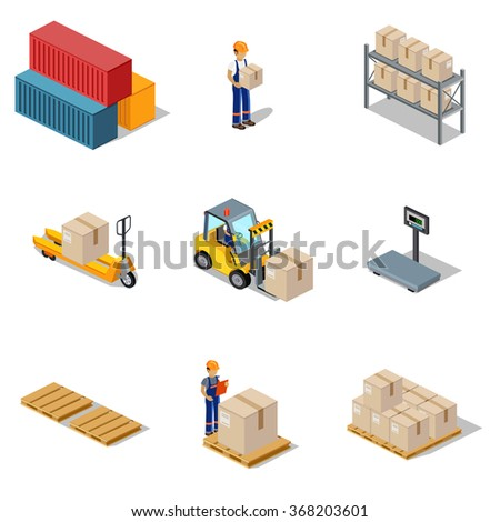 Icon 3d isometric process of the warehouse. Warehouse interior, logistic and factory, warehouse building, warehouse exterior, business delivery, storage cargo illustration. Set of vector isometric - stock vector