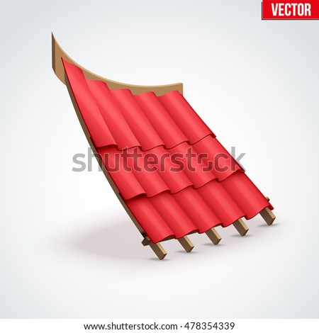 Icon demonstration red ceramic tiles cover on the roof. Cartoon style. Vector Illustration isolated on white background.