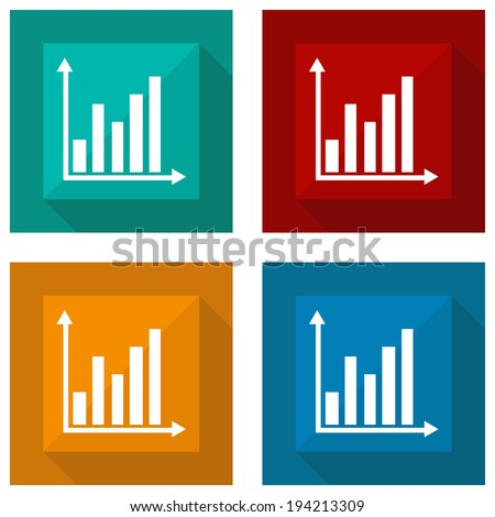 icon diagram with shadow different colors. Vector illustrations - stock vector
