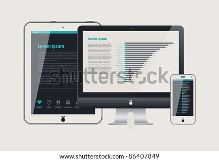 icon display tablet and Cell Phone - stock vector