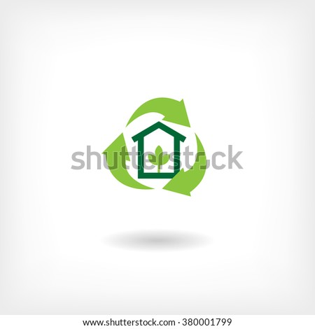 Icon eco home, garbage recycling. Vector icon - stock vector