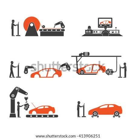 icon engineering auto assembly conveyor - stock vector