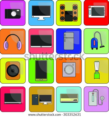 Icon Equipment Electronic colorful.
