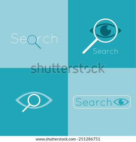 Icon eyes with a magnifying glass. Logo. Search, analysis, study, medicine, ophthalmology. Seo. Search Engine Optimization. spy, espionage  - stock vector