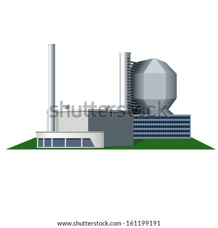 icon factory with pipes and office building, vector - stock vector