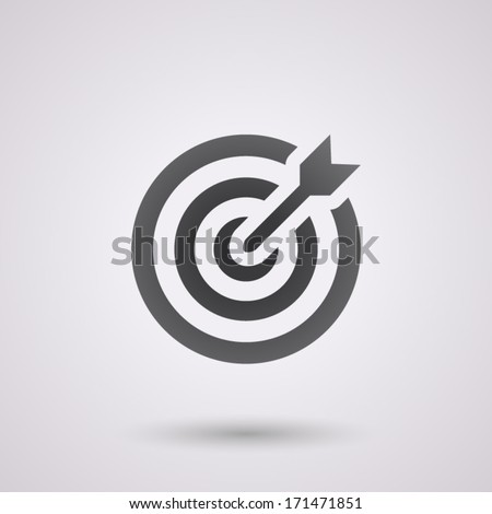 icon flat target with dart in black, isolated, shaded - stock vector