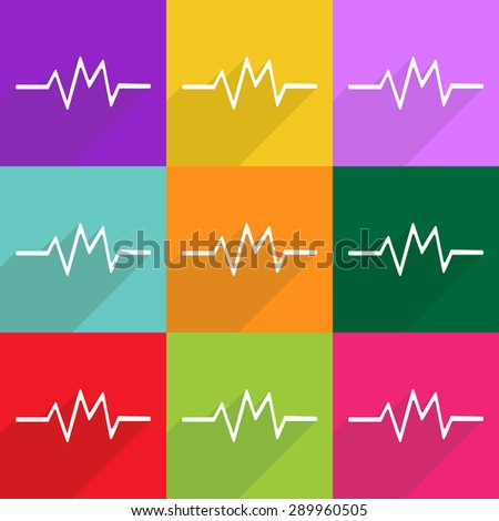 icon, flat, vector, design, news, image, medical set, medical icon, cardiogram - stock vector