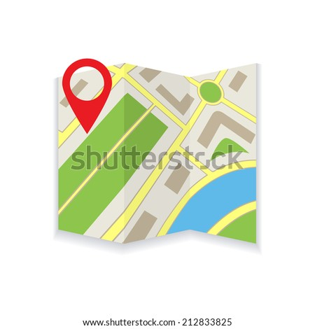 Icon foldable map on white background - stock vector