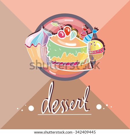 icon food.button for a cafe or restaurant. Icon with dessert - stock vector