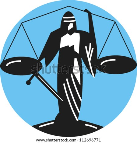 Icon for the scales of justice, justice is blind - stock vector