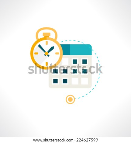 Icon for website and mobile application. Flat design. Vector. Editable. Clock and Calendar. - stock vector