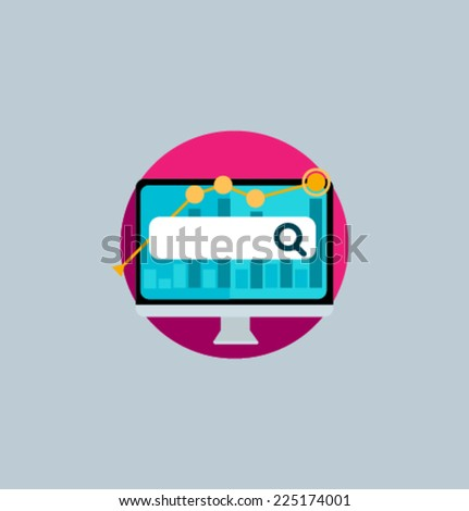 Icon for website and mobile application. Flat design. Vector. Editable. Financial monitoring. - stock vector