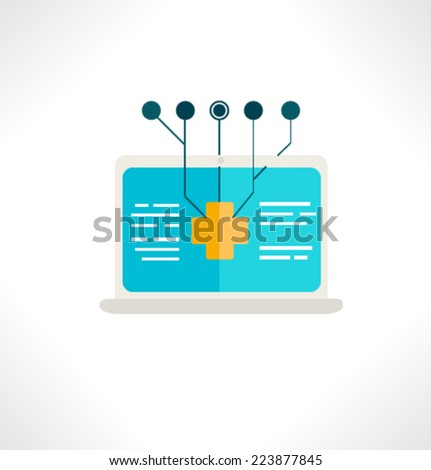 Icon for website and mobile application. Flat design. Vector. Editable. Notebook analytics. - stock vector