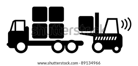Icon, fork lift truck at work, vector illustration - stock vector