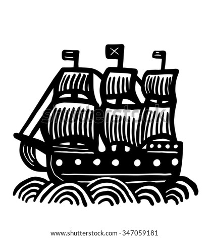 Icon galleon - stock vector
