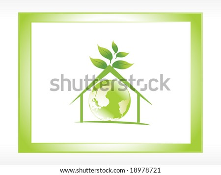 icon globe in the green house, illustration - stock vector