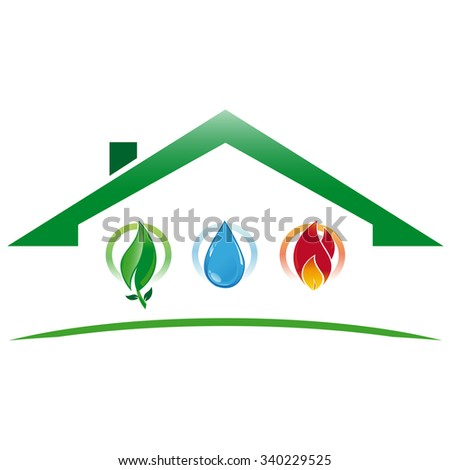 Icon green house with water systems, heating and environmentally sustainable