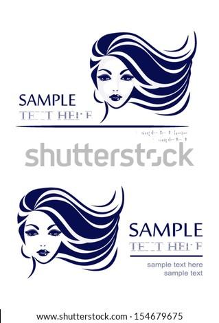 Icon hair, girl's face, vector logo design - stock vector