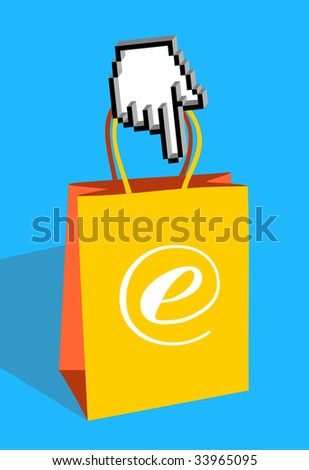 Icon hand pointing an e-commerce bag - stock vector