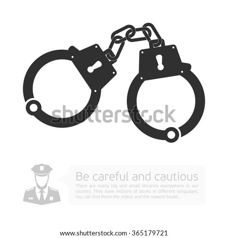 Icon handcuffs. Vector infographics with a picture of handcuffs, police and Development dialog with the cloud. - stock vector