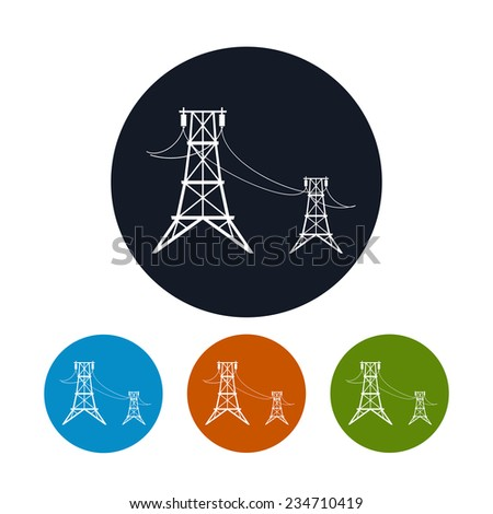 Icon high voltage power lines , the four types of colorful round icons  high voltage power lines, vector illustration - stock vector
