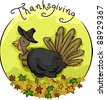 Icon Illustration Featuring a Turkey Wearing a Pilgrim Hat - stock vector