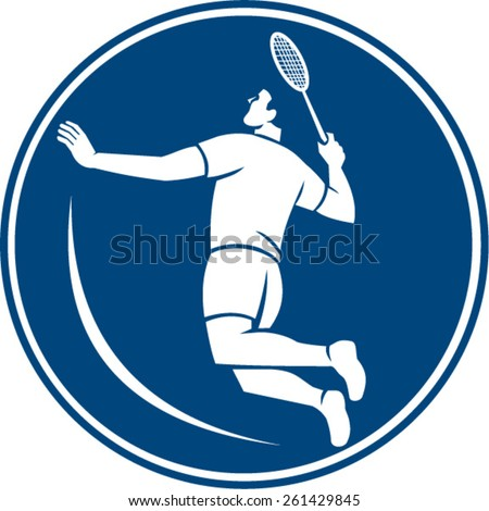 Icon illustration of a badminton player holding racquet jumping smashing viewed from side set inside circle on isolated background done in retro style. - stock vector