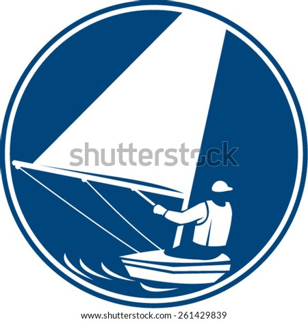 Icon illustration of a man in a sail boat sailing yachting viewed from rear set inside circle on isolated background done in retro style. - stock vector
