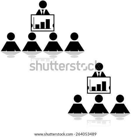 Icon illustration showing a businessman making a presentation to three and four people