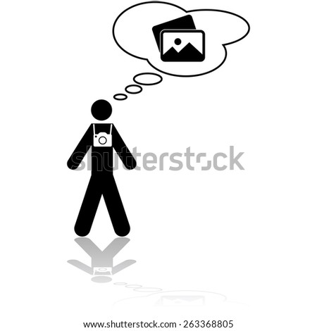 Icon illustration showing a photographer thinking about which pictures to take - stock vector