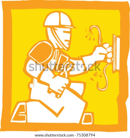 Icon in a woodcut style of an electrician
