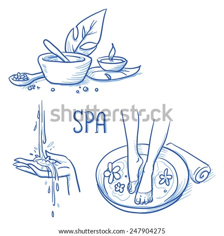 Icon item set wellness, spa, with foot bath, treatment cream and salt, leafs, candle, hand and water. Hand drawn doodle vector illustration. - stock vector