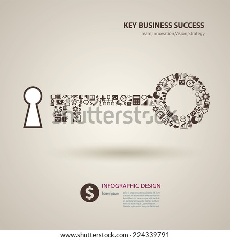 icon key success business - stock vector