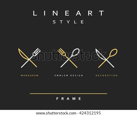 Icon knife, fork and spoon. Icon spoon. Icon cutlery. Emblem cutlery. Design cutlery - stock vector