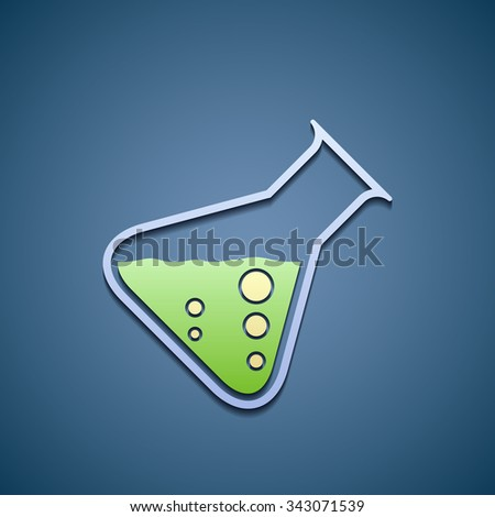 Icon laboratory glass flask with a chemical liquid. Flat graphics. Stock vector illustration. - stock vector